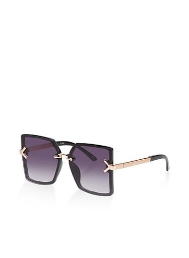 Square Rimless Sunglasses,BLACK,large
