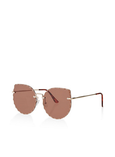Textured Rimless Sunglasses,BROWN,large