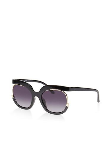 Cut Out Metallic Frame Sunglasses,BLACK,large