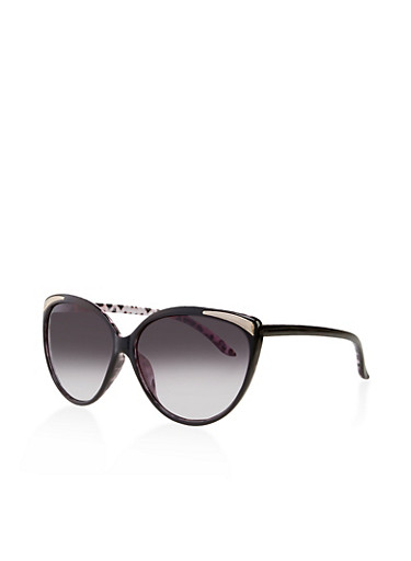 Cat Eye Metallic Corner Sunglasses,BLACK,large