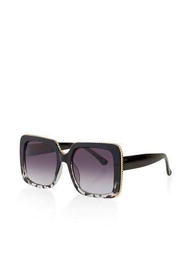 Metallic Trim Square Sunglasses,BLACK,large