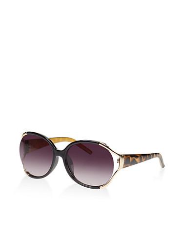 Side Cut Out Metallic Sunglasses,BLACK,large