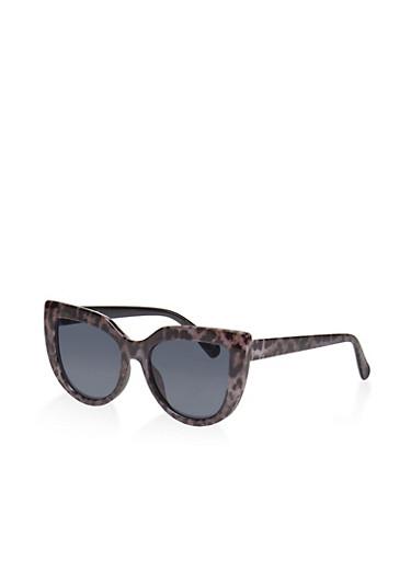 Leopard Cat Eye Sunglasses,GRAY,large