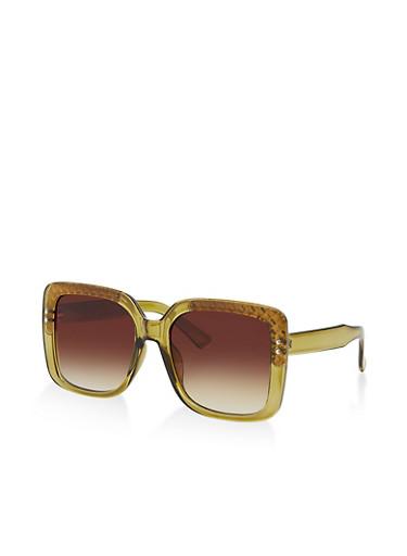 Metallic Corner Square Sunglasses,OLIVE,large