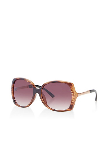 Metallic Arm Plastic Sunglasses | 3134056177847,BROWN,large