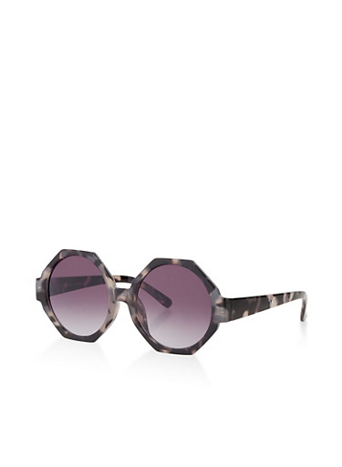 Colored Geometric Plastic Sunglasses,GRAY,large