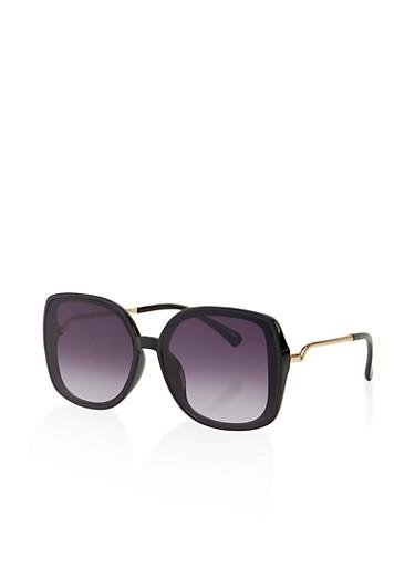 Metallic Temple Square Sunglasses,BLACK,large