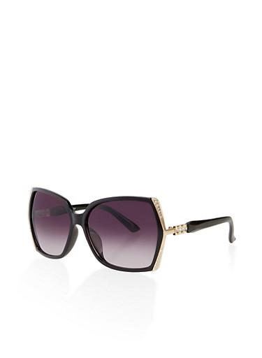 Metallic Rhinestone Detail Sunglasses,BLACK,large