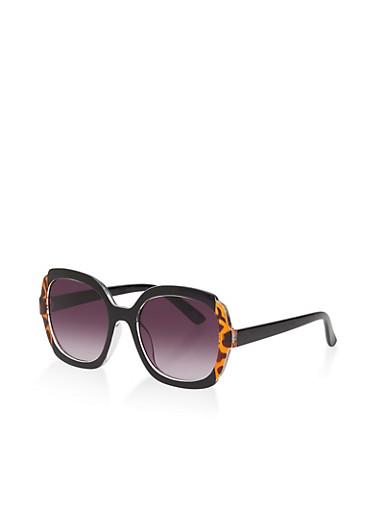 Printed Trim Plastic Sunglasses,BLACK,large