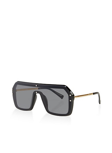 Square Shield Sunglasses,BLACK,large