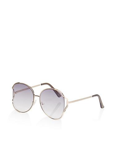 Open Side Circular Sunglasses,GRAY,large