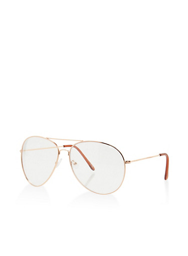 Clear Aviator Glasses,ROSE,large