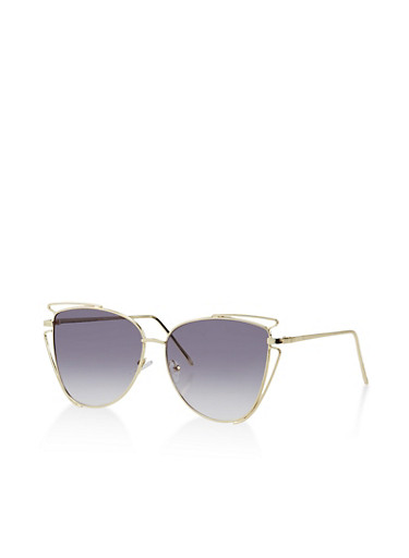 Cat Eye Cut Out Sunglasses,GRAY,large