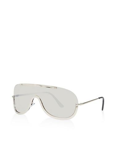 Mirrored Shield Sunglasses,SILVER,large