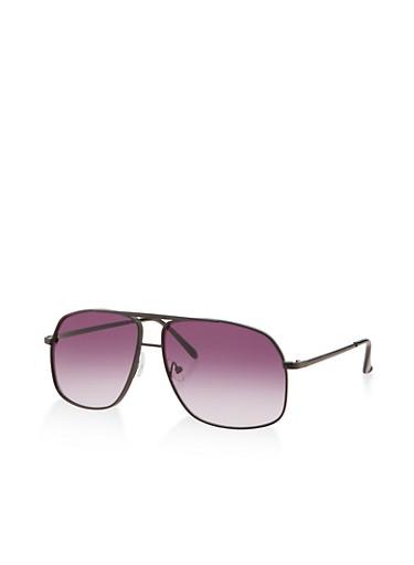 Metallic Aviator Sunglasses,BLACK,large