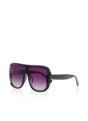 Rhinestone Studded Shield Sunglasses,BLACK,large