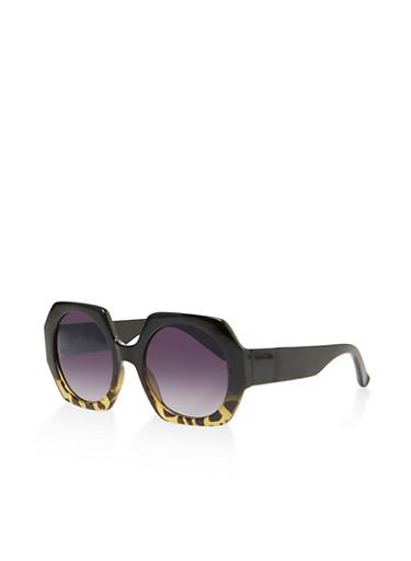 Geometric Plastic Sunglasses   3134071211401,BLACK,large