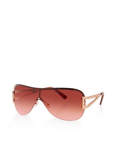 Rhinestone Detail Shield Sunglasses,ROSE,large