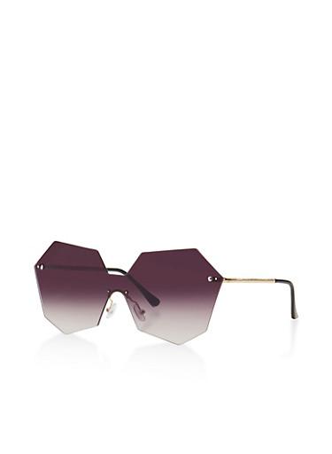 Geometric Rimless Shield Sunglasses,GRAY,large