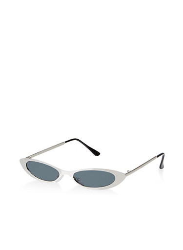 Skinny Cat Eye Metallic Sunglasses,SILVER,large