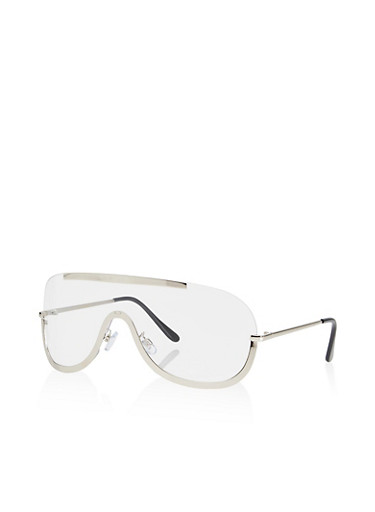 Clear Shield Glasses,SILVER,large