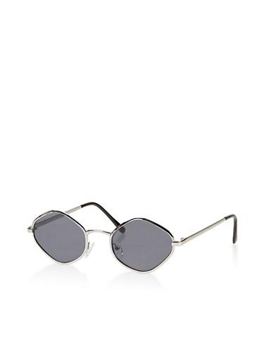 Small Geometric Oval Sunglasses,GRAY,large