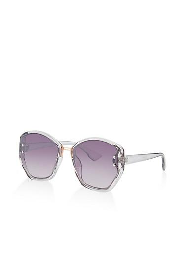 Geometric Plastic Sunglasses | 3134071215005,BLACK,large