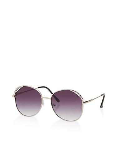 Rhinestone Side Trim Round Sunglasses,SILVER,large