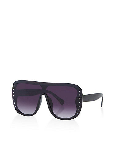 Studded Shield Plastic Sunglasses,BLACK,large