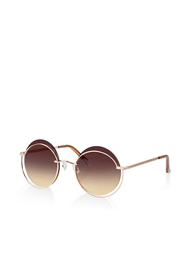 Asymmetrical Circular Rim Sunglasses,GRAY,large