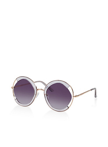 Round Cut Out Clear Sunglasses,GRAY,large