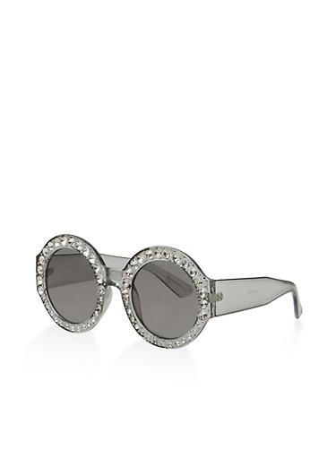 Rhinestone Circular Sunglasses,GRAY,large
