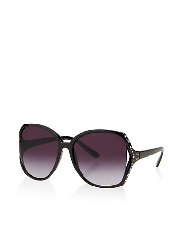Rhinestone Cut Out Sunglasses,BLACK,large