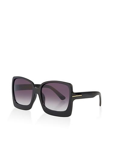 Large Square Plastic Sunglasses,BLACK,large