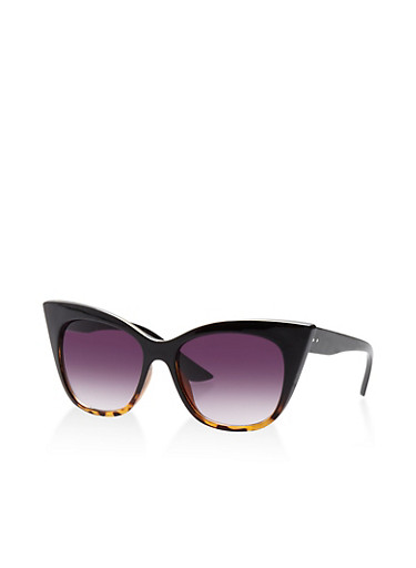 Cat Eye Sunglasses,BLACK,large