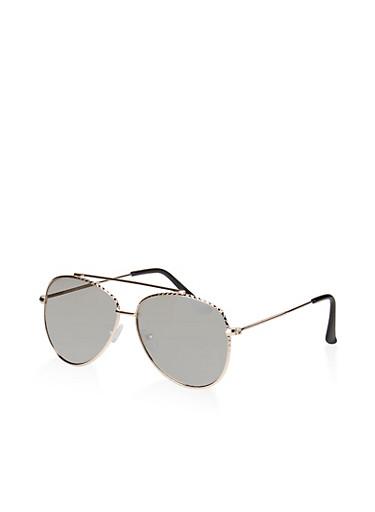 Hammered Metallic Rim Aviator Sunglasses,SILVER,large