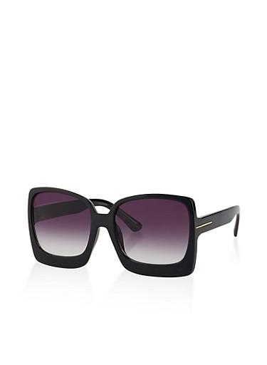 Plastic Large Square Sunglasses,BLACK,large