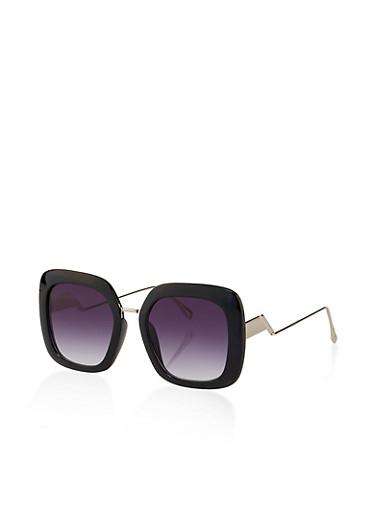 Plastic Square Frame Sunglasses,BLACK,large