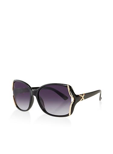 Rhinestone X Detail Sunglasses,BLACK,large