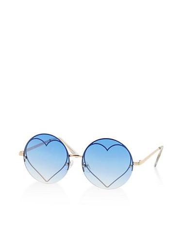 Metallic Heart Round Colored Sunglasses | Tuggl