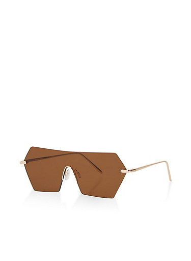 Rimless Geometric Shield Sunglasses,BROWN,large