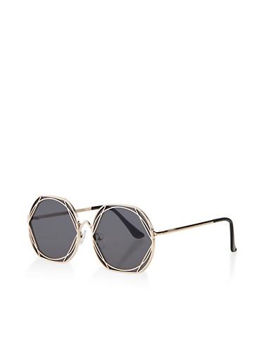 Geometric Metallic Sunglasses,GRAY,large