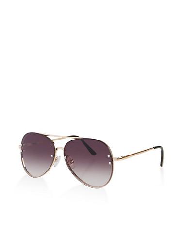 Metallic Frame Aviator Sunglasses,GRAY,large