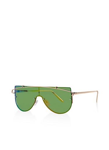 Metallic Bar Shield Sunglasses,PINK,large