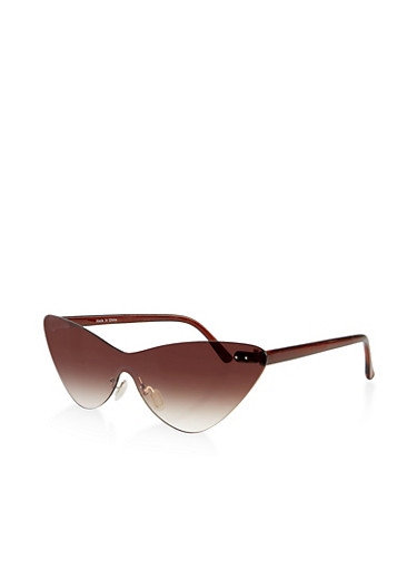 Rimless Colored Cat Eye Sunglasses,BROWN,large
