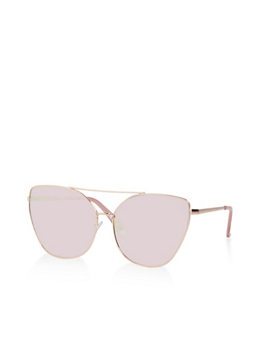 Metallic Top Bar Sunglasses,GRAY,large