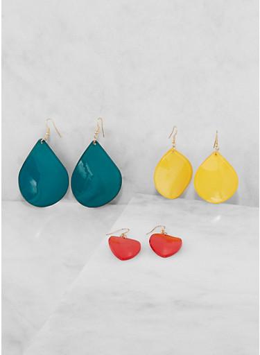 Plastic Tear Drop Earring Trio,RED,large