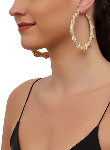 Rhinestone Metallic Bamboo Hoop Earrings,CLEAR,large