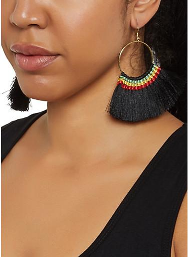 Fan Fringe Earrings,BLACK,large