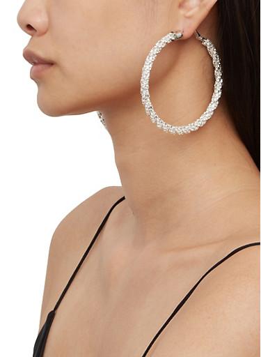Twisted Rhinestone Hoop Earrings,SILVER,large